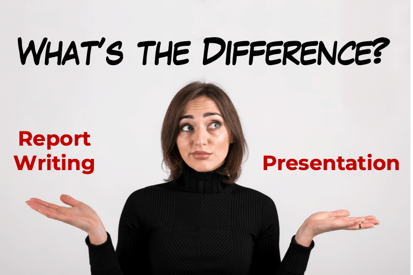 Featured Image of a Blog post with a woman wondering about difference between presentation and report writing