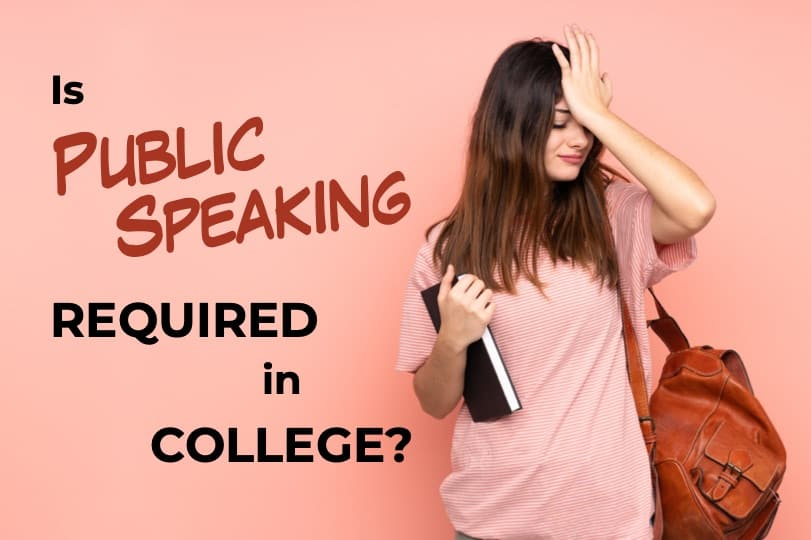 Featured Image of a post showing a college student holding books wondering if public speaking is required in college