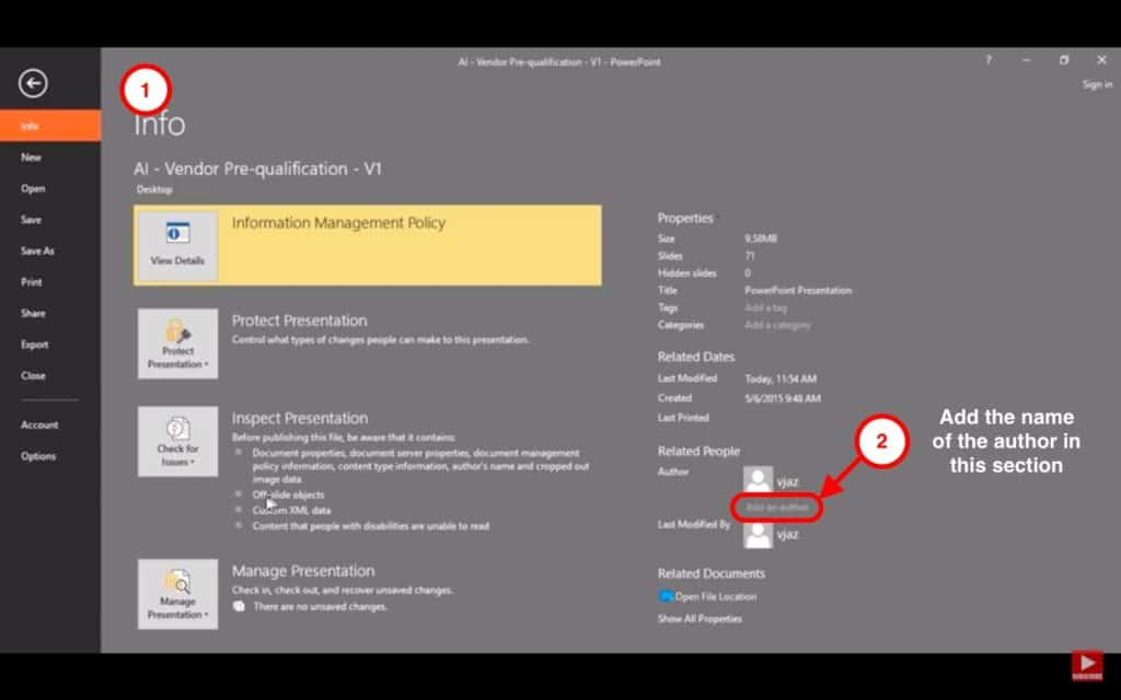 Image describing how to add an author in PowerPoint