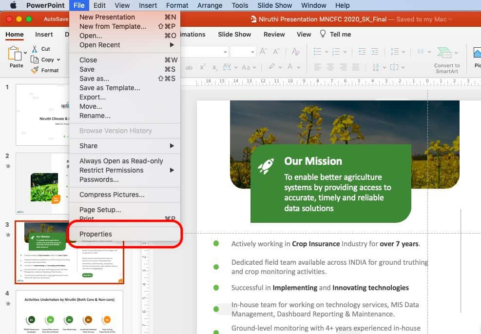 Image describing how to change author name in PowerPoint on Mac
