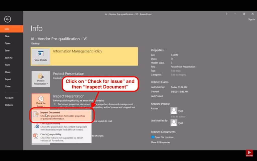 Image describing how to remove personal information from PowerPoint