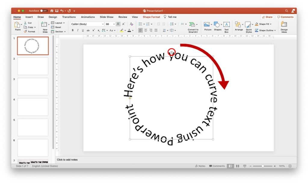 Image indicating how to rotate a curved text in PowerPoint