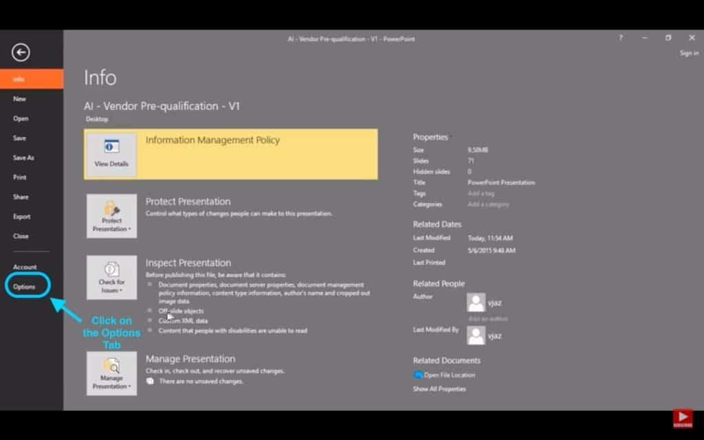 Image showcasing option tab under the file menu in PowerPoint.