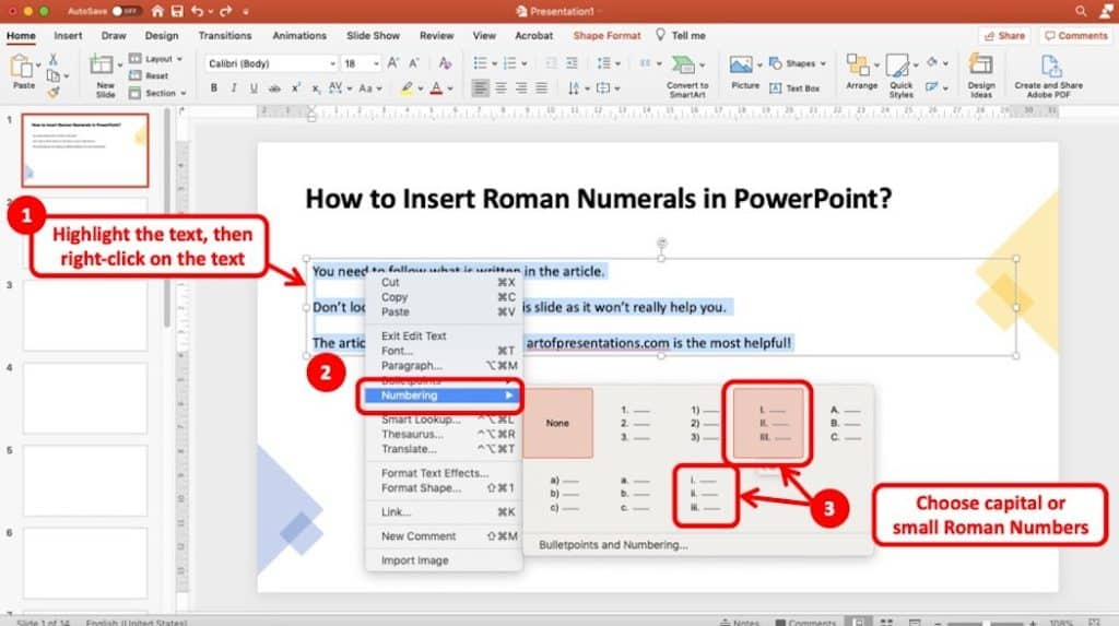 Image showcasing how to add roman numerals in PowerPoint by selecting the text and pressing right-click button on the mouse