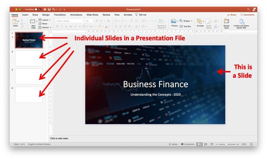 An image describing a slide in a PowerPoint presentation