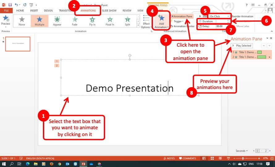 Image showcasing the steps to add animation in PowerPoint