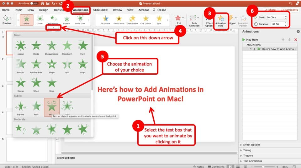 Image showcasing the process of adding animation in PowerPoint on Mac