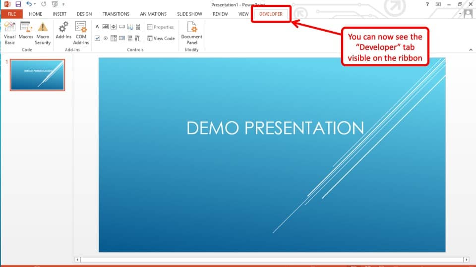 How to Enable Developer Tab in PowerPOint