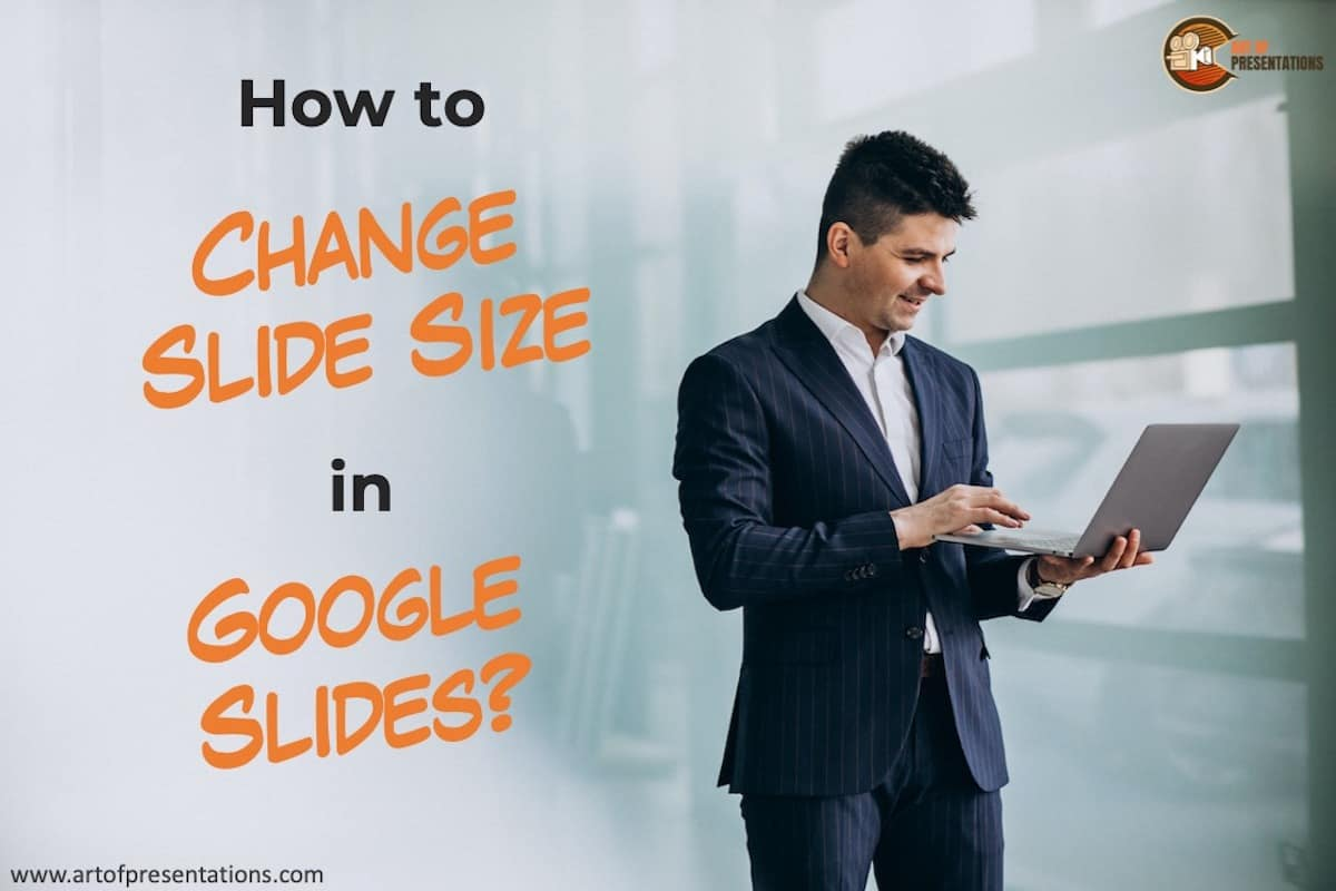 Man looking at his computer thinking How to Change Slide Size in Google Slides